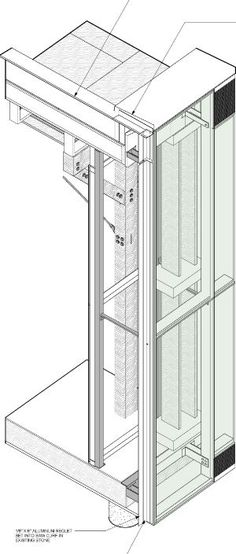 The double-wall, ventilated facade is composed of two layers of thick, clear, high-performance insulating glass, which runs from floo. Architecture Drawings, Facade Architecture, School Architecture, Conceptual Architecture, Wall Section Detail, Glass Curtain Wall, Lift Design, Glass Facades, Brick Building