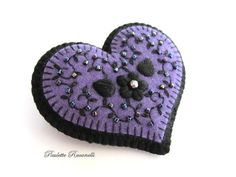 Felt Heart Pin / Embroidered Heart Brooch via Etsy