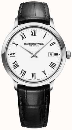 Raymond Weil's superior Swiss Toccata timepiece features a classic Roman numeral dial in a polished stainless steel case on a supple black leather strap. Classic Man, Classic White, Modern Classic, Raymond Weil, Swiss Made Watches, Rolex Submariner, Luxury Watches, Quartz Watch, Nike Air Max
