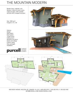 Purcell Timber Frames -The Mountain Modern - Prefab Full Home Package  I know this house is quite different, but I love it.   The only thing I would change is to put in a full laundry room.  I love the big windows.