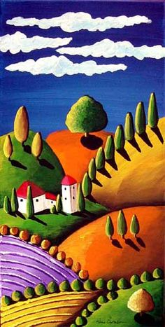 Colorful Tuscan Tuscany Landscape Whimsical Folk Art Painting Original via Etsy