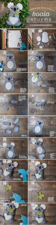 Koala Stuffie Tutorial from Michaels Makers Lia Griffith - I don't care how old I am.I need a koala stuffie Cute Crafts, Felt Crafts, Bible Crafts, Do It Yourself Baby, Baby Mobile, Felt Patterns, Sewing Patterns, Felt Diy, Sewing Projects For Beginners