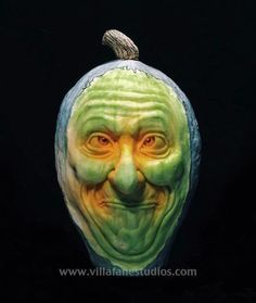 Stan Laurel Blue Squash Sculpture/Carving by Ray Villafane