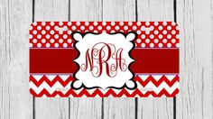 Personalized Monogrammed Chevron Polka Dot Red by TopCraftCase