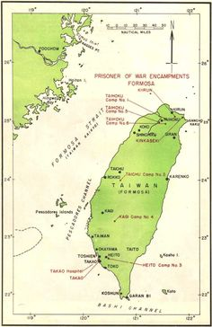 Map of Taiwan (Formosa) indicating the locations of Prisoner-of-War facilities, 1945