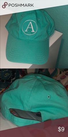 "e4b7d531f8e Turquoise ""A"" Hat Cute turquoise baseball hat with A embroidery Great  condition"