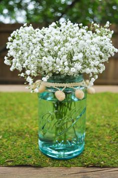 maybe buy bushels of baby breath and put it in my turquoise glass centerpiece pieces?