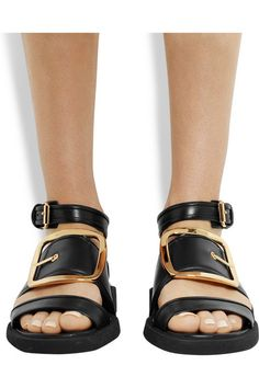 Oversized buckle sandals in black leather  from Givenchy #fashion #sandals #Givenchy