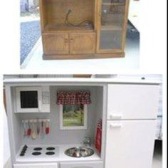Little girls play kitchen re use old entertainment center to make a cabinets nj . little girls play kitchen Repurposed Items, Repurposed Furniture, Kids Furniture, Furniture Making, Painted Furniture, Furniture Projects, Wood Projects, Recycled Decor, Girls Play Kitchen