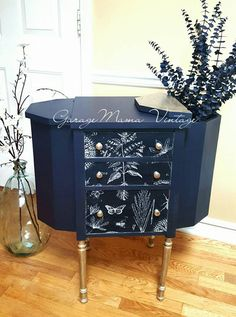 Coastal Blue Martha Washington sewing cabinet~  I like the silver legs. I would do crystal knobs and store the wood ones. It would be a good idea to have a glass cut for the top and use as a night stand or table.