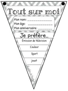 GRATUIT - Tout sur moi. Parfait pour la rentrée! French Teaching Resources, Primary Teaching, Teaching French, Teacher Resources, French Worksheets, French Education, Core French, French Classroom, French School