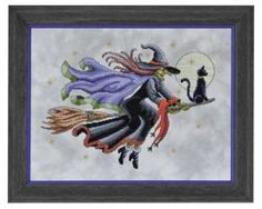 Items similar to CRUSIN' - Halloween Counted Cross Stitch Pattern witch broom black cat moon cross stitch needlework pattern chart - witch cross stitch on Etsy Beaded Cross Stitch, Counted Cross Stitch Patterns, Cross Stitch Embroidery, Cross Stitching, Hand Embroidery, Halloween Cross Stitches, Stitch Book, Cross Stitch Supplies, Needlework
