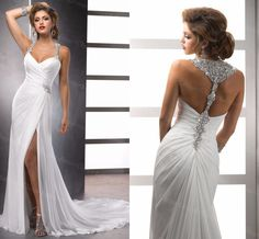 Custom Made White Chiffon Front Silt Casual Style Backless Vestidos De Noiva Beach Wedding Dresses, on Luulla