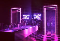 Vaporwave room: mirrored blocks, neon lights and tropical pl Aesthetic Space, Purple Aesthetic, Retro Aesthetic, Custom Neon, Nightclub Design, Neon Room, Retro Waves, Naruto Wallpaper, Dream Rooms