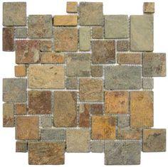 natural slate tile backsplash