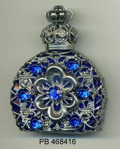 Flakon, essential oil vial, Perfume Bottle - royal blue glass silver filigree blue rhinestone PB 468416 by buttonsandshanks on Etsy