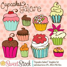 Items similar to Cupcakes Galore Vector Graphics Set for Personal and Commercial Use on Etsy Cupcake Painting, Cupcake Art, Love Cupcakes, Sketch Painting, Drawing For Kids, Vector Graphics, Decoupage, Art Projects, Arts And Crafts