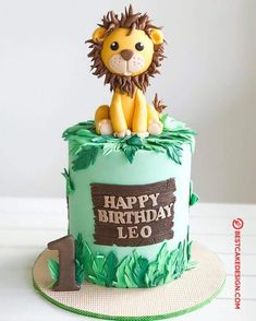50 Most Beautiful looking Lion Cake Design that you can make or get it made on the coming birthday. Happy Birthday Leo, Lion Birthday Party, Jungle Birthday Cakes, Jungle Theme Cakes, Boys 1st Birthday Cake, Safari Theme Birthday, Creative Birthday Cakes, Safari Cakes, Beautiful Birthday Cakes