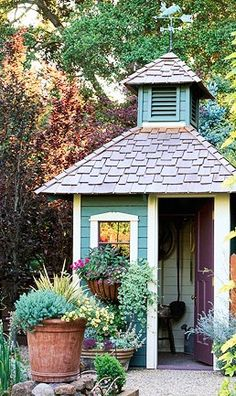 Air circulation inside a garden shed creates a pleasant place to work; this one vents through a cupola at the top.