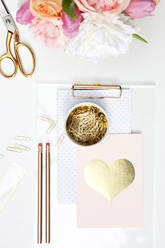 • shine on • // gold foil, gold scissor, pretty prints - what's there not to love?? desk inspiration and obsession.