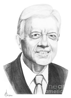 President Jimmy Carter by Murphy Elliott ~ traditional pencil art Celebrity Caricatures, Celebrity Portraits, Pencil Art, Pencil Drawings, Colored Pencil Techniques, Jimmy Carter, Autumn Aesthetic, Graphite Drawings, Amazing Drawings