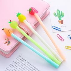1 PCS New Cute Fresh Fruit Pineapple Apple Pen Creative Gel Pens Signing Pen For Kids Novelty Gift Stationery School Supplies Stationery Pens, School Stationery, Kawaii Stationery, Apple Pen, Cool School Supplies, Cute Stationary School Supplies, Office Supplies, Kawaii Pens, Cute Pens