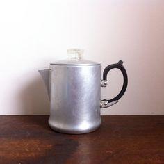 Vintage coffee percolator aluminium coffee pot by CatandtheBird