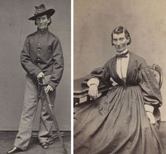 "Frances Clalin Clayton disguised herself as ""Jack Williams"" in order to fight for Union forces during the American Civil War alongside her husband during the fall of 1861. She served in the Missouri artillery and cavalry units for several months. She is seen here around 1865. Photos by Samuel Masury/ Library of Congress Prints and Photographs Division"