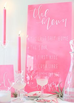 Frosted Neon Wedding Signage DIY 4 DIY Tutorial: Hand Lettered Neon Acrylic Cocktail Menu