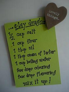 Play dough recipe (add glitter for glitter play dough)