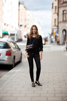 all black + chanel bag