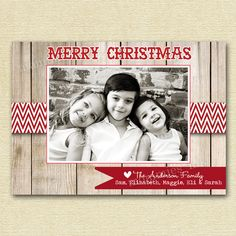 Shabby Chic Rustic Wood and Red Chevron Photo Holiday Christmas Card - PRINTABLE CARD DESIGN. $13.00, via Etsy.