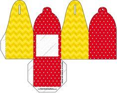 Caixa Foto  Poá Vermelho e Listras Amarelo: