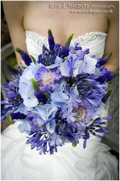 Beautiful blue hydrangea wedding bouquet from a Caswell House wedding, Joanna Carter wedding flowers