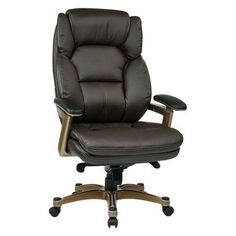 Office Star Executive Bonded Leather Chair with Faux Leather Padded Arms and Coated Base, Multiple Colors, Brown