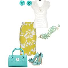"""Yellow and Teal"" by amy-koo on Polyvore"