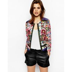 Floral Printed Autumn Cotton Short Jackets for Women Embroidery Female Coat Outerwear