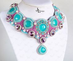 Bridal embroidered Necklace with Natural Aqua Chalcedony and Swarovski crystals. Blue, pink, purple necklace. Wedding jewellery. on Etsy, $492.31 AUD