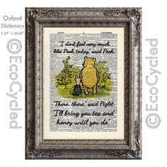 New to EcoCycled on Etsy: Winnie the Pooh Not Feeling Like Pooh Quote 65 There There said Piglet on Vintage Upcycled Dictionary Art Print Book Art Print Classic (10.00 USD)