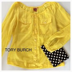Tory Burch Canary Yellow Button Down Top Now that's a POP OF COLOR! Cotton and silk blend.  One small flaw by inside tag (easy fix).  Otherwise, excellent condition! Tory Burch Tops Button Down Shirts