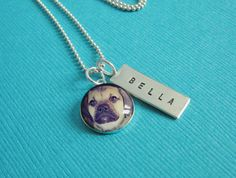 Custom Pet Photo Name Necklace - Sterling Silver - Hand Stamped Tag w Small Charm - Custom Love My Pet Jewelry wear Your Dog or Cat Picture