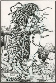 Medusa by Arthur Adams | A bit OTT with the snakes there, Art!