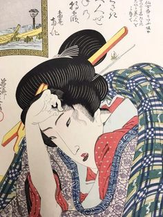 Antique Ukiyo-e Japanese woodblock print Keisai Eisen beautiful girl picuture