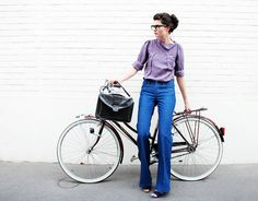 Jeans, shoes, bike.