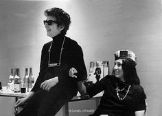 Bob Dylan and Joan Baez In Green Room Philharmonic Hall Lincoln Center NYC 1964.