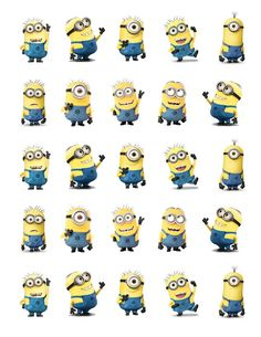 "Despicable Me Minions Printable Party approx. Cutouts for Cupcakes, Favors, Toppers, Stickers.Use to decorate the box or packages for my favorite ""minionary"" Bolo Minion, Minion Baby, Minion Theme, Minion Birthday, Twin Birthday, My Minion, Minion Names, Image Minions, Minion Classroom"