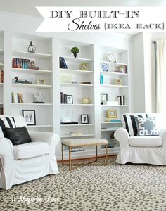 "How to easily and expensively fill a blank wall with built-in shelving using IKEA Billy Bookcases-- ""ikea hack"", see the full how to do it here. {it's not hard!}"
