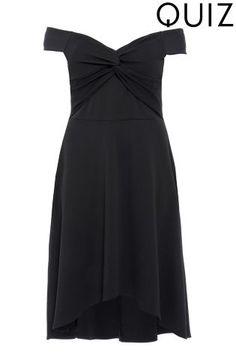 4f77274145fdb Buy Quiz Curve Bardot Knot Dip Hem Dress from the Next UK online shop