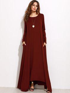 Burgundy Long Sleeve Shift Maxi Dress -SheIn(Sheinside) Mobile Site