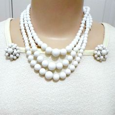 Jewelry set vintage white bead 3 strand necklace 16 in clip earrings Hong Kong #HongKong